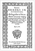Title page Certaine Errors in Navigation