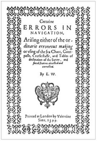 Edward Wright (mathematician) - Title page of the first edition of Wright's Certaine Errors in Navigation (1599)