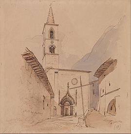 Chiesa di San Pietro da un disegno di Edward Lear dell' ottobre 1844 (conservato nello Yale Center For British Art di New Heaven)