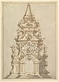 Elevation for a Catafalque Surmounted by Squat Obelisk, Decorated with Statues of Putti and Female Figures MET DP820175.jpg