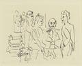 Emil Nolde, Ada Nolde, Erich Heckel und Ernst Ludwig Kirchner bei der Vorbereitung eines Holzschnittes (SM 16042z).png
