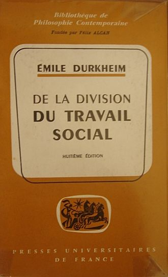 Bibliography of sociology - Cover of the French edition of the Division of Labor in Society by Emile Durkheim.