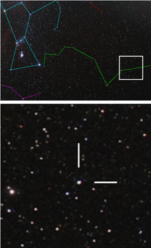 The upper photograph shows a region of many point-like stars with coloured lines marking the constellations. The lower image shows several stars and two white lines.
