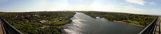 Erskine Bridge - A panoramic view up river to Glasgow from the bridge