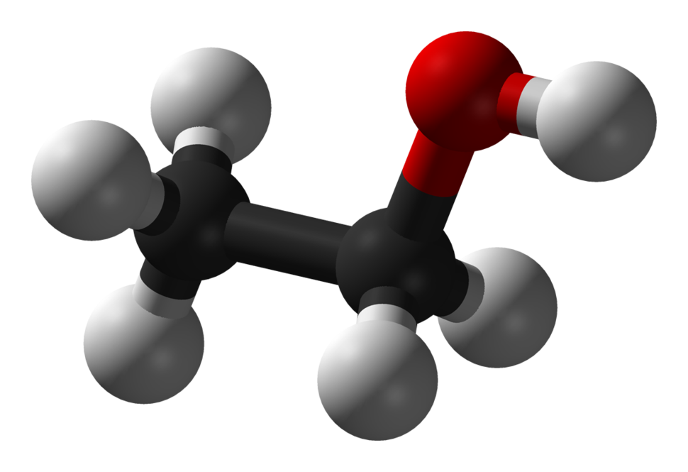 Ball-and-stick model of ethanol