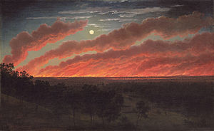 Eugene von Guerard - Bush fire between Mount Elephant and Timboon, 1857