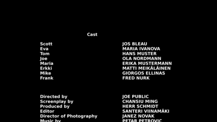 Example of closing credits