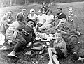Excursion, picnic, tableau, men, women, kids, hillside, walking cane, free time, hat, basket, flask, bottle, can, breech Fortepan 2491.jpg