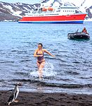 Excursion No. 12. into the old caldera of Deception Island.it's absolutely amazing what humans will do for fun.the Polar plunge, witnessed by an array of chicken photographers and a few bewildered (26015778095).jpg