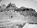 Exhibit material- scenic view, Oak Creek Canyon from patio of Visitor Center. ; ZION Museum and Archives Image ZION 8803 ; ZION (d7b666fbbca04447985294aad633b52a).jpg