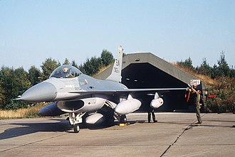 Allied Forces South Norway - A US Air Force F-16 Fighting Falcon from the 363rd Tactical Fighter Wing at Rygge Air Station during Exercise Coronet Gauntlet '83.