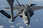 F-22 Raptor conducts aerial refueling with a KC-135 Stratotanker over the Baltic Sea - 150904-F-XT249-052.jpg