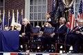 F.W. de Klerk, left, the last president of apartheid-era South Africa, and Nelson Mandela, his successor, wait to speak in Philadelphia, Pennsylvania LCCN2011634233.tif