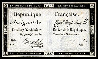 French livre - Assignat for 125 livres (1793)