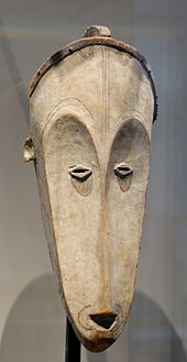 Fang mask used for the ngil ceremony, an inquisitorial search for sorcerers. Wood, Gabon, 19th century.