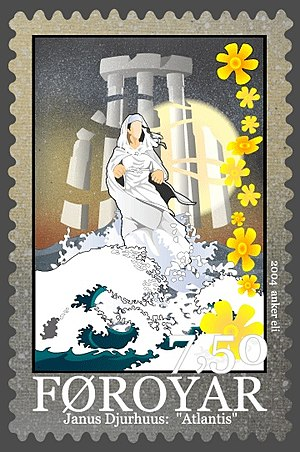 "Atlantis - A Faroe Islands postage stamp honoring Janus Djurhuus' ""Atlantis"""