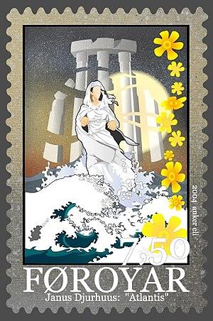 "Atlantis - A Faroe Islands postage stamp honoring Janus Djurhuus' ""Atlantis"""