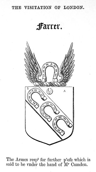 Farrar (surname) - This is the Farrer Coat of Arms of Ralph Farrer, grocer from the Visitation of London.