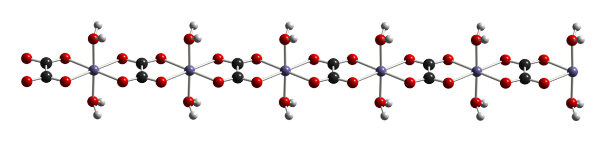 Crystal structure of iron(II) oxalate dihydrate, showing iron (gray), oxygen (red), carbon (black), and hydrogen (white) atoms. Fe(C2O4)(H2O)2-chain-from-xtal-2008-CM-3D-balls.png