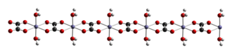 Iron(II) oxalate - Ball-and-stick model of a chain in the crystal structure of iron(II) oxalate dihydrate