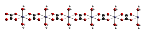 Ball-and-stick model of a chain in the crystal structure of iron(II) oxalate dihydrate