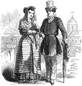 Courtship in the Philippines - A depiction of a mestizo couple from the Tagalog region during the 19th century.