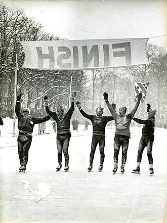 Friesland - Finish of the Elfstedentocht in 1956