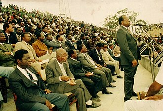 Marcel Lihau - First meeting of the Union Sacrée de l'Opposition Radicale in Kinshasa in 1991. Lihau is seated in the first chair in the front row.
