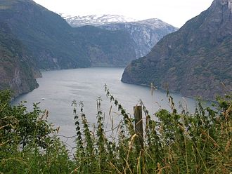 Aurland - View on the Aurlandsfjord (northwest direction)