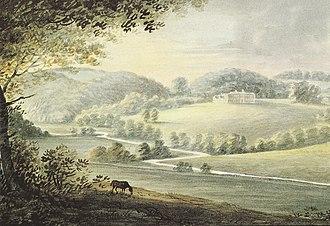 """Manor of Flete - """"Fleet, seat of John Bulteel, Esq."""", watercolour dated January 1794 by Rev John Swete"""