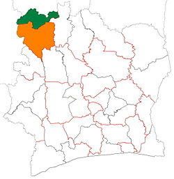 Location of Folon Region (green) in Ivory Coast and in Denguélé District