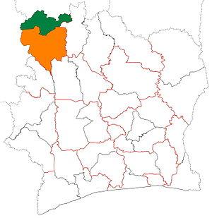 Folon Region - Image: Folon region locator map Côte d'Ivoire
