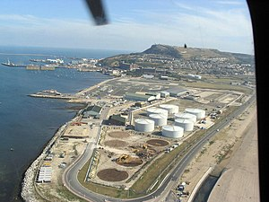 RNAS Portland (HMS Osprey) - The former RNAS, seen in September 2003, when much of the site was being redeveloped for academy, and a new hangar planned for the adjacent coastguard helicopter.