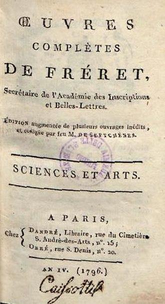 Nicolas Fréret - Sciences et arts, 1796