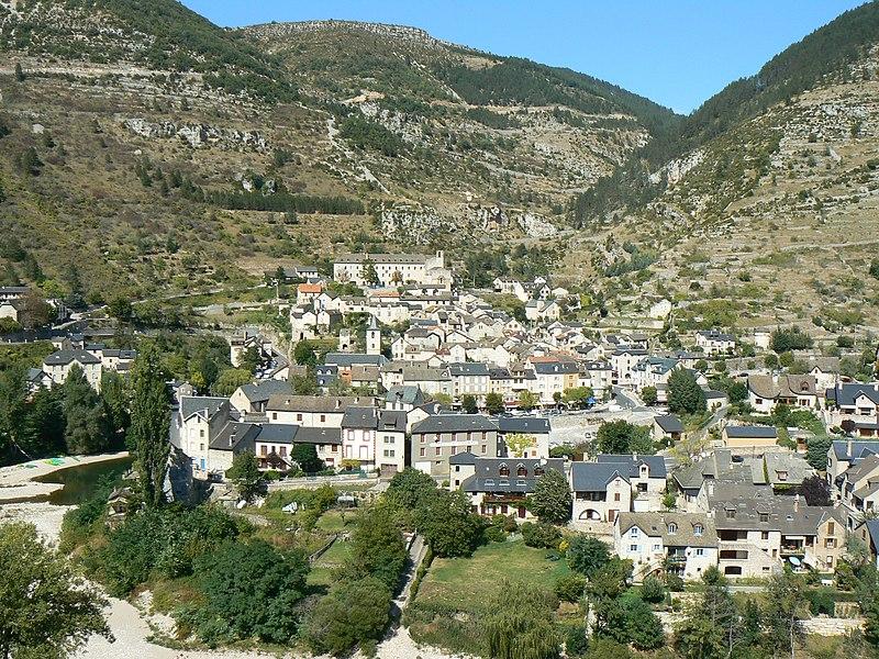 General view of Sainte-Enimie, Lozère, France.
