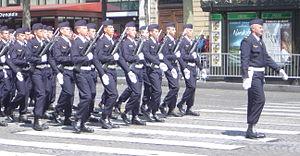 Fusiliers Commandos de l'Air - Fusiliers de l'air on the Champs-Élysées on the 60th anniversary of VE day.