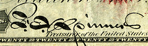 Francis E. Spinner - Spinner's signature on an 1862 issue United States Note.