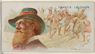 François l'Olonnais - Image: Francis Lolonois, Death of Lolonois, from the Pirates of the Spanish Main series (N19) for Allen & Ginter Cigarettes MET DP835031