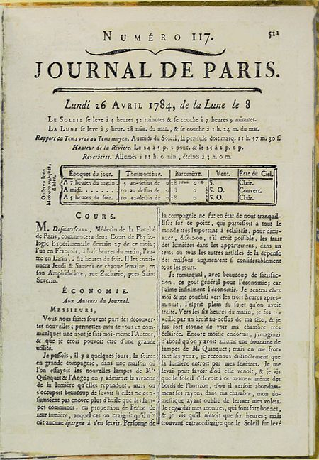 """Yellowed magazine cover containing mostly print that is too small to read. Near the top is """"JOURNAL DE PARIS."""""""