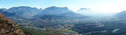 Franschhoek and Berg River Valley from Franschhoek Pass