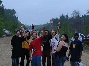 Freetekno - A group of friends enjoying Northtek 2005, Ontario, Canada
