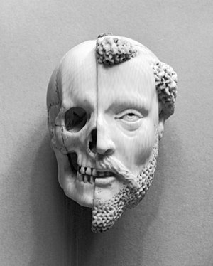 Death - French – 16th-/17th-century ivory pendant, Monk and Death, recalling mortality and the certainty of death (Walters Art Museum)