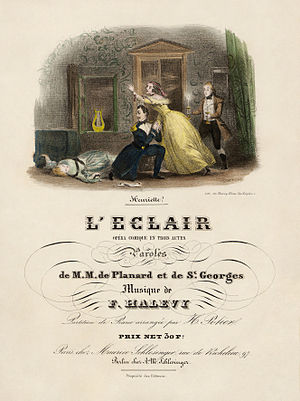 Title page to an early vocal score of Fromental Halévy's L'éclair