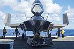 Front view of F-35C Lightning II of VX-23 on USS Eisenhower (CVN-69) in October 2015.JPG