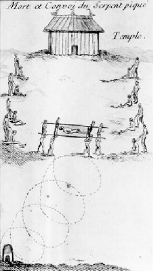 Natchez people - The funeral procession of Tattooed Serpent in 1725, with retainers waiting to be sacrificed