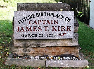 "James T. Kirk - The plaque marking Riverside, Iowa, self-proclaimed as Captain Kirk's ""future birthplace"""