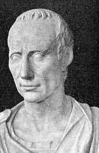 Toupée - An engraving of Julius Caesar showing both pattern baldness and signature wreath, which he used to cover his scalp.
