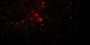 N-body simulation - Image: Galaxy cluster sim