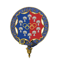 Garter encircled coat of arms of Lady Mary Elizabeth Peters, LG, CH, DBE, DStJ.png
