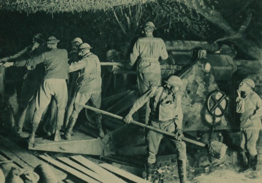 Gasmasked artillerymen